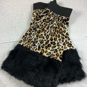 Leopard print fur leg warmers